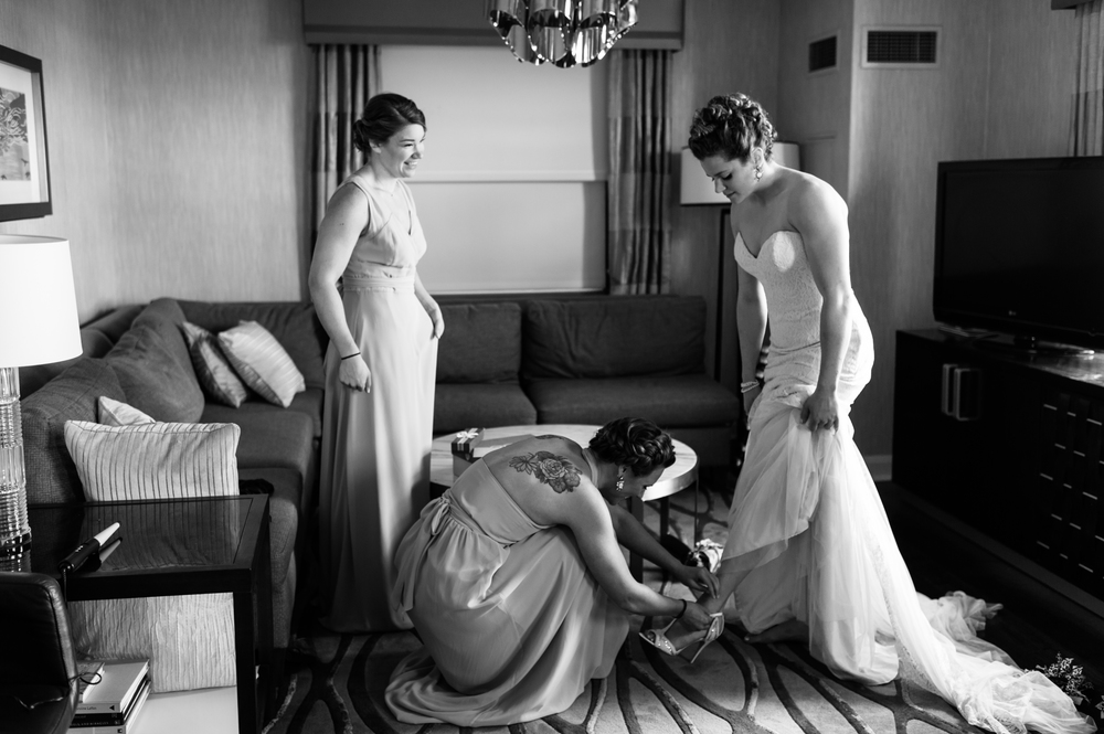 Getting ready at the hilton chicago wedding