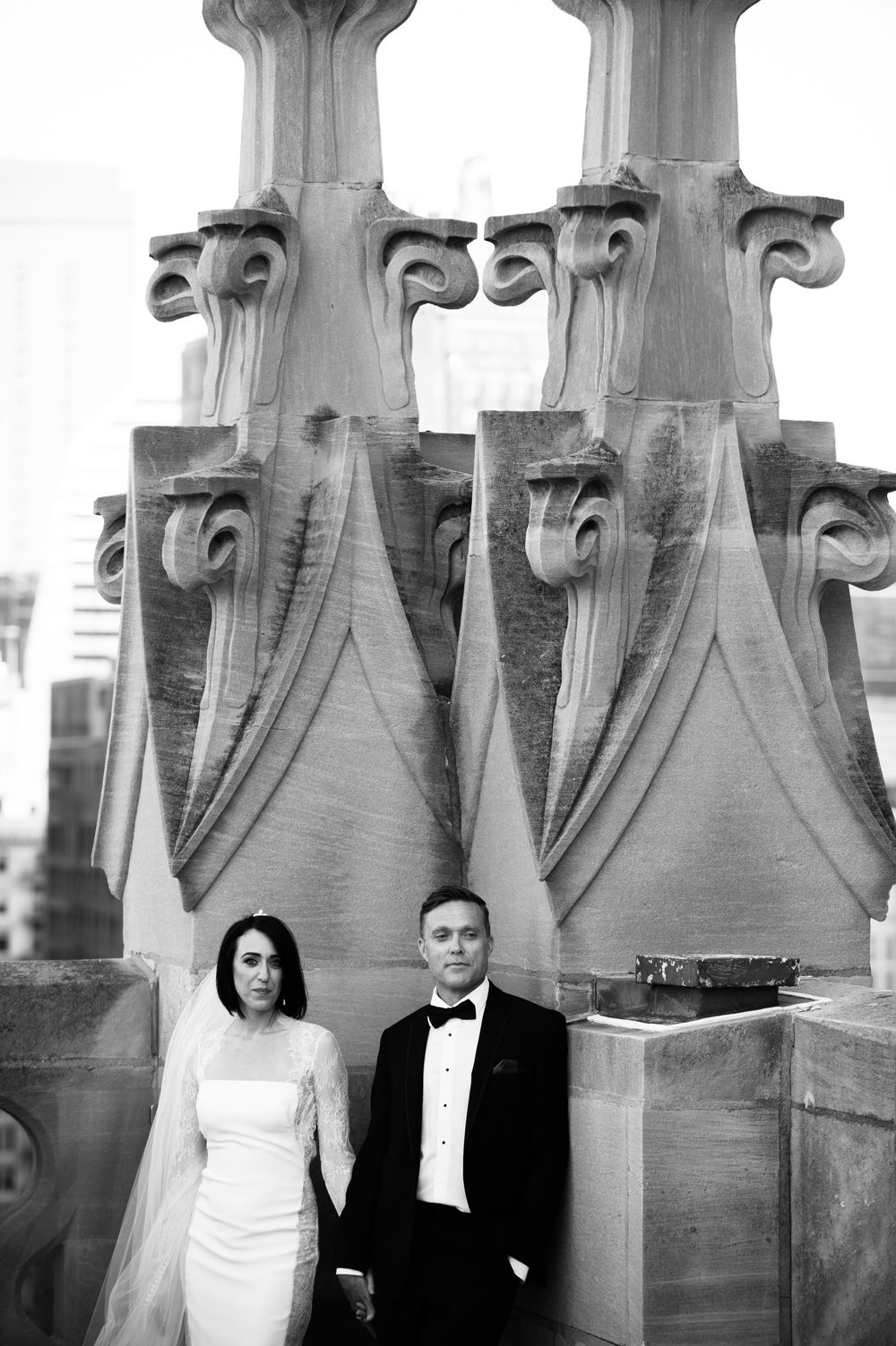 Bride and Groom Portraits Tribune Tower
