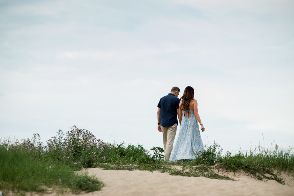 Chicago summertime beach engagement shoot