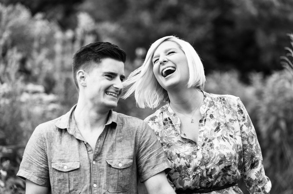 Candid black and white engagement photos in Chicago