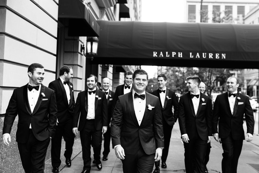 Groomsmen black and white wedding photography