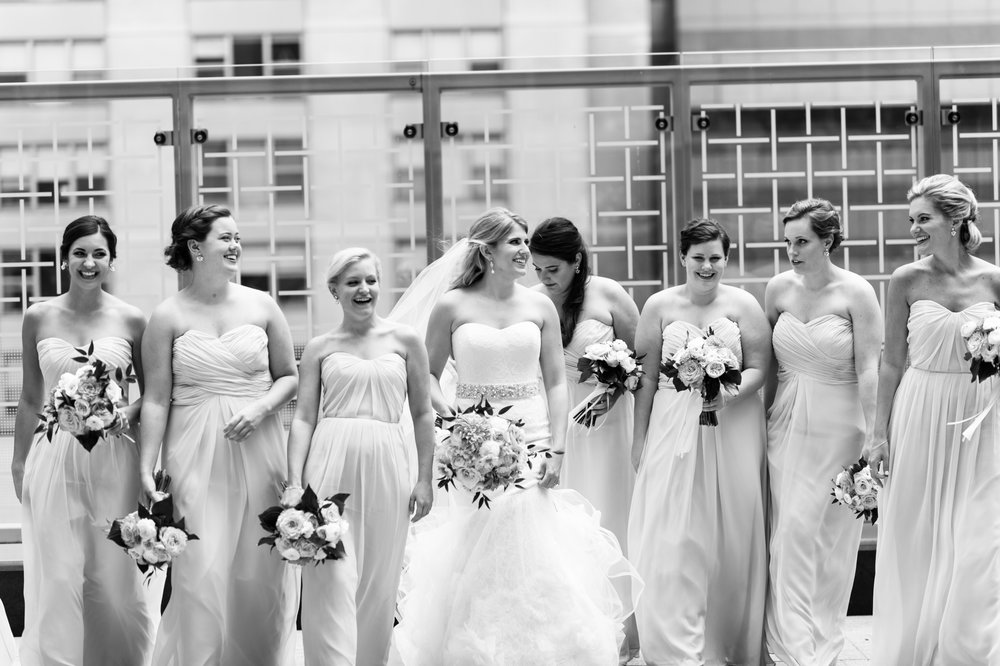 Bridesmaids at the Peninsula black and white