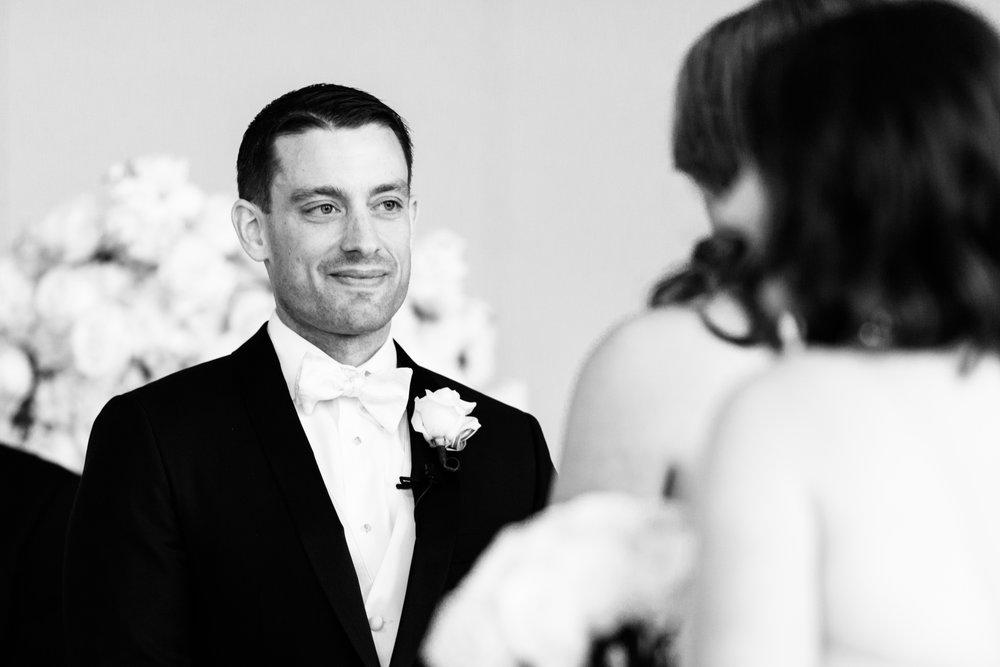 Groom at Wedding Ceremony Chicago Peninsula Hotel