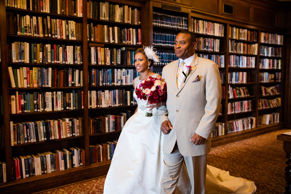 Bride walks down the aisle at University Club of Chicago Wedding