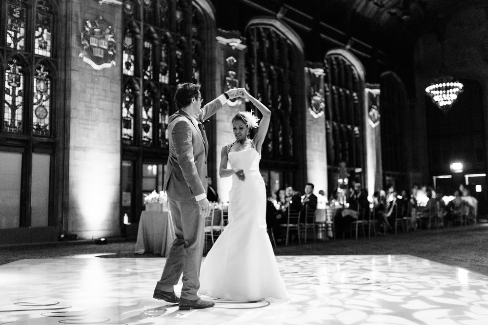 Bride and groom's first dance at University Club of Chicago