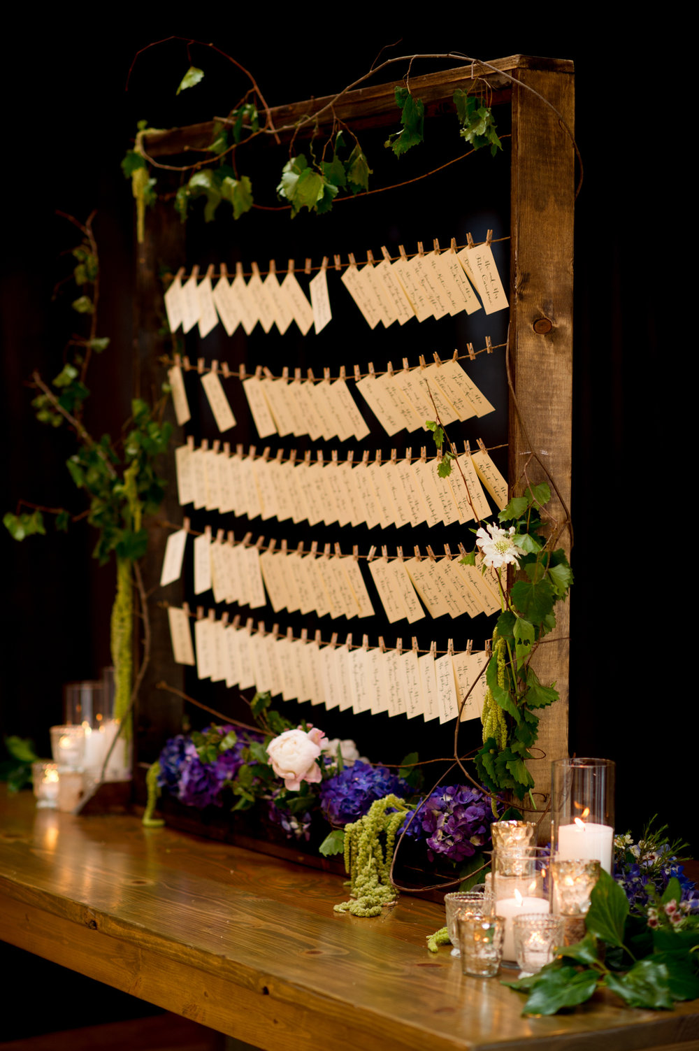 Floral escort card frame at Bridgeport Art Center Chicago