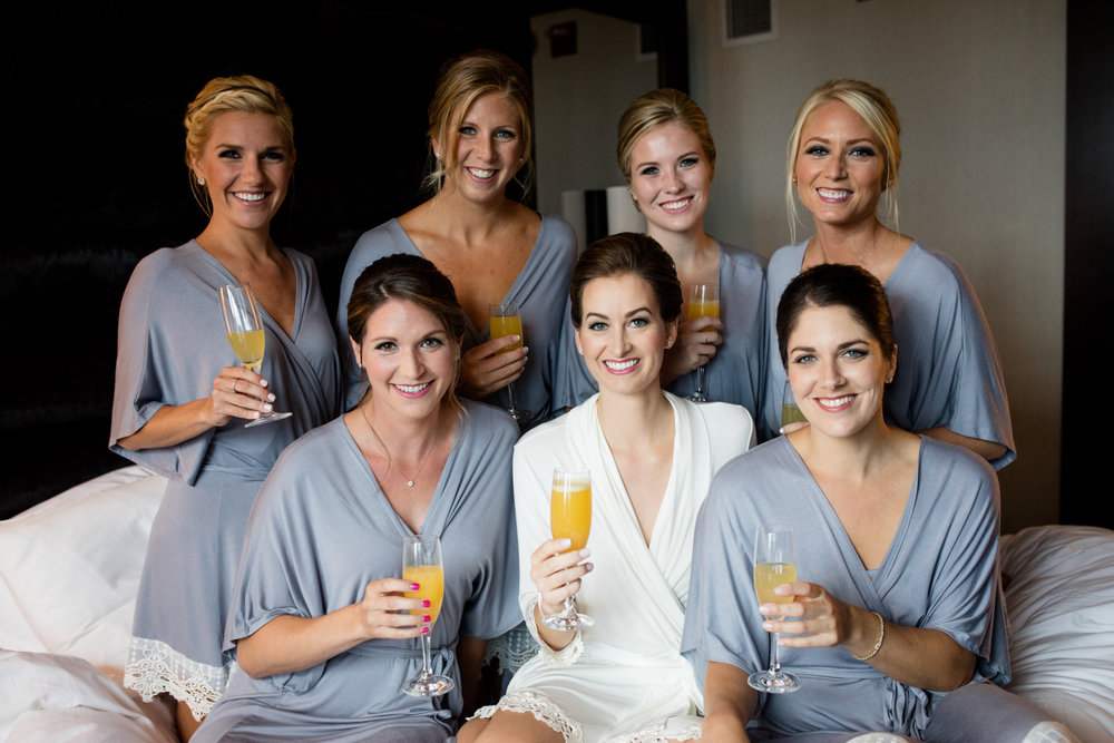 Bridal party gets ready at CC Loews Hotel in downtown Chicago