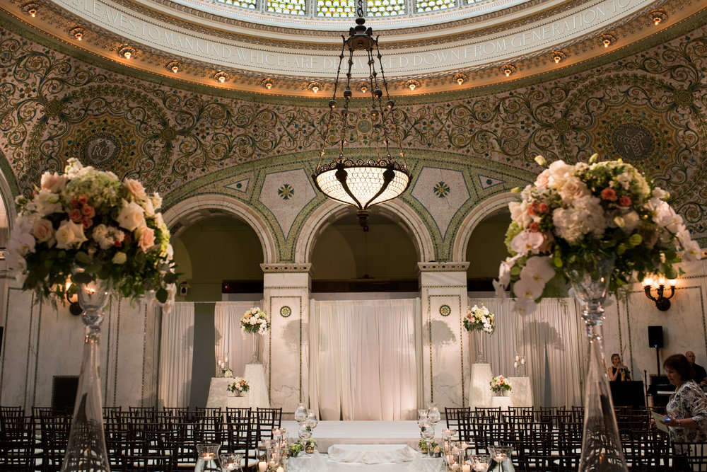 Wedding ceremony at Chicago Cultural Center Preston Bradley Hall