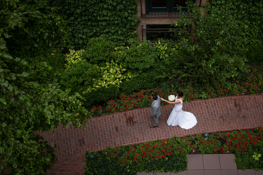 Overhead view of bride and groom's first look at Ivy Room in Chicago