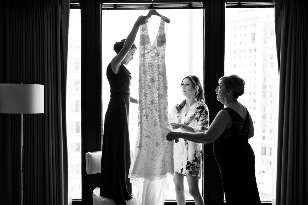 Documentary wedding photography of bride getting ready at the Langham Hotel in Chicago
