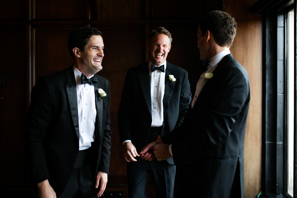 Groomsmen get ready at the University Club of Chicago