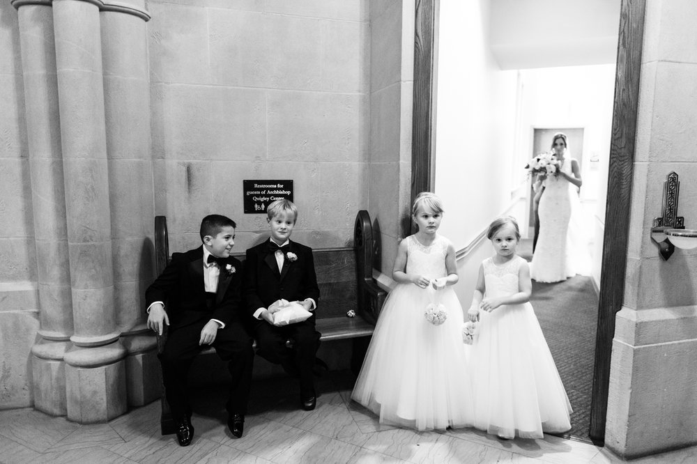 Bride waits for ceremony to begin at St James Chapel in Chicago