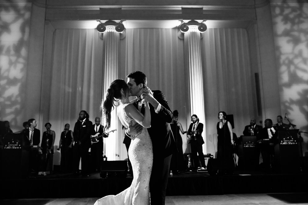 Bride and groom's first dance at the Field Museum in Chicago