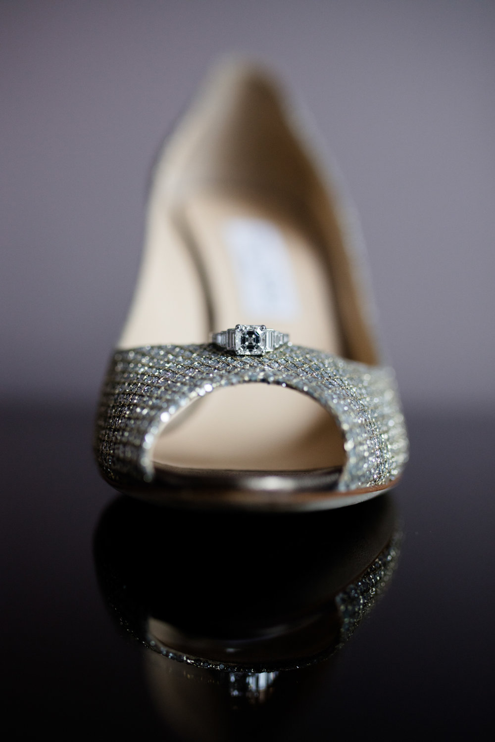 Bride's ring and Jimmy Choo shoes for Chicago Cultural Center wedding.
