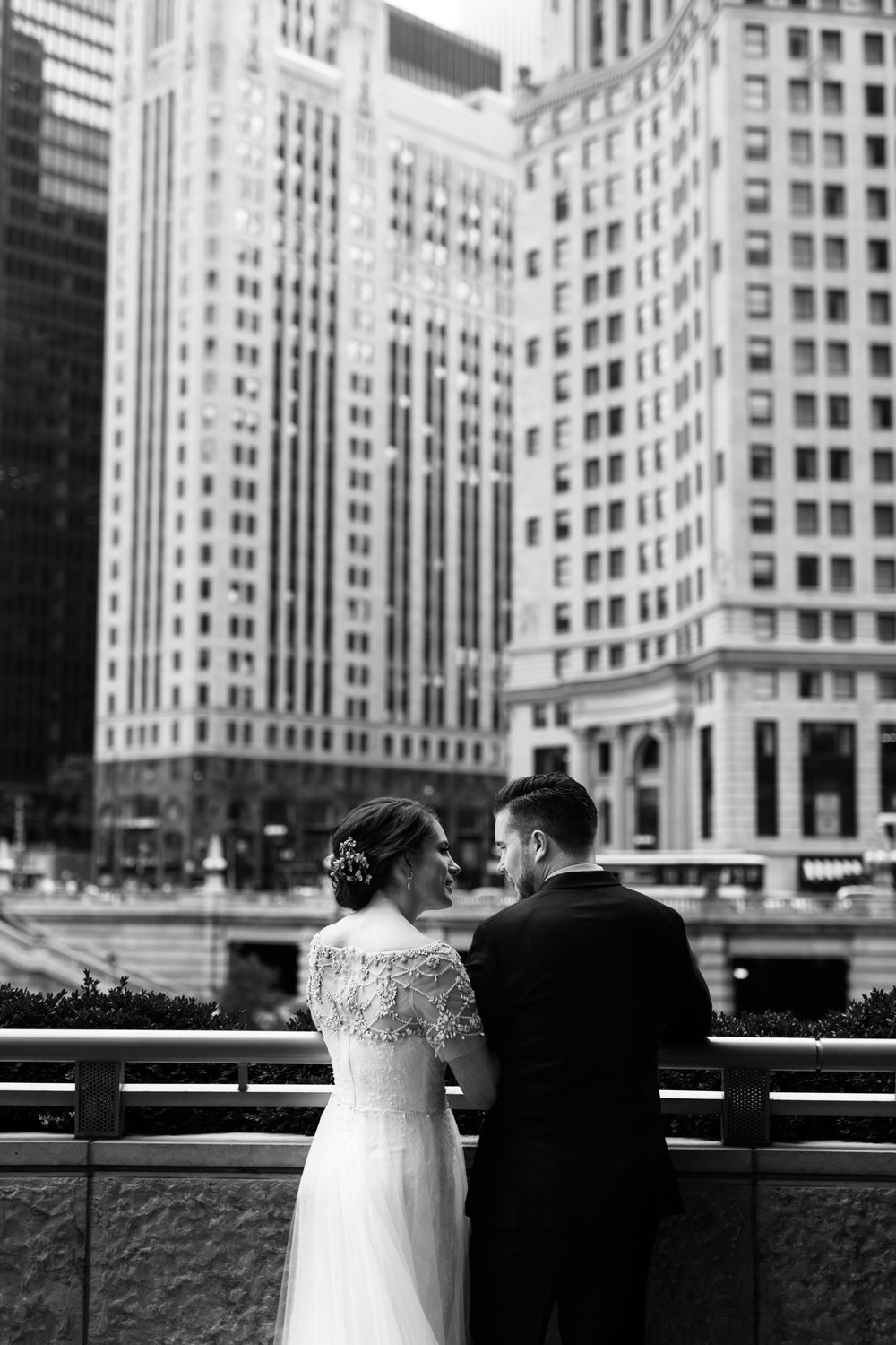 Bride and groom in downtown Chicago