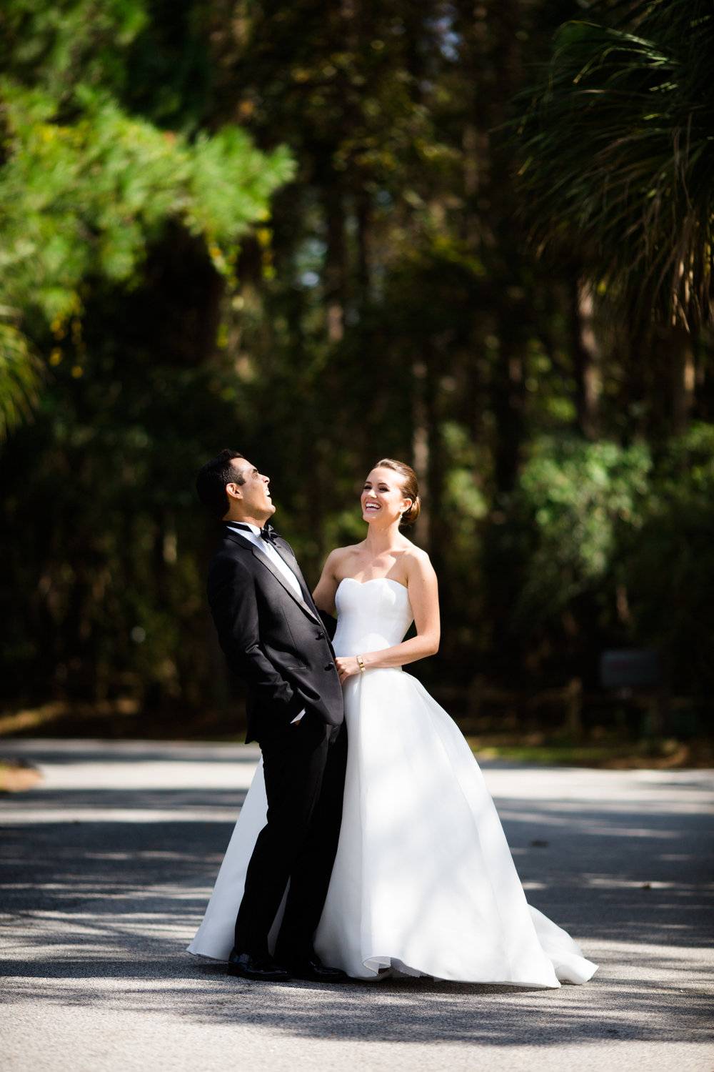 Portrait of bride and groom on wedding day in Kiawah, South Carolina