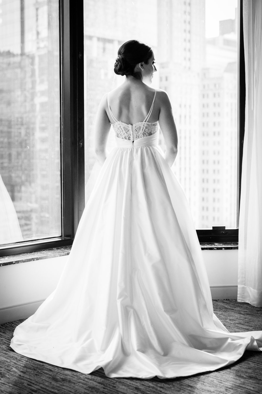 Classic black and white bridal portrait at Chicago Westin River North