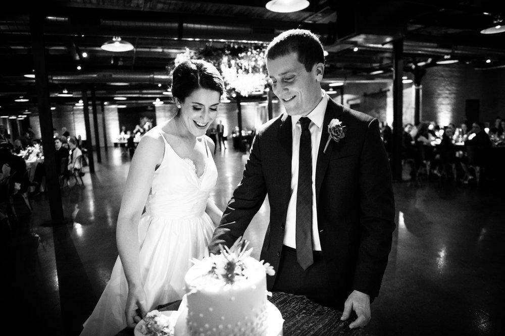 Cake cutting at wedding in Chicago at Morgan Manufacturing