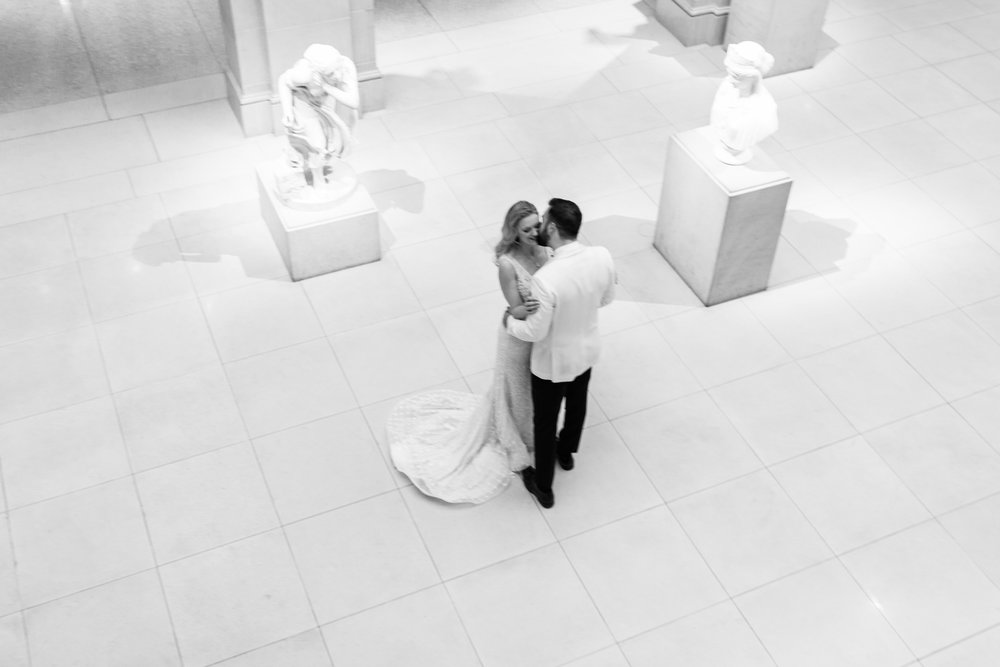 Bride and groom's first look at Art Institute of Chicago