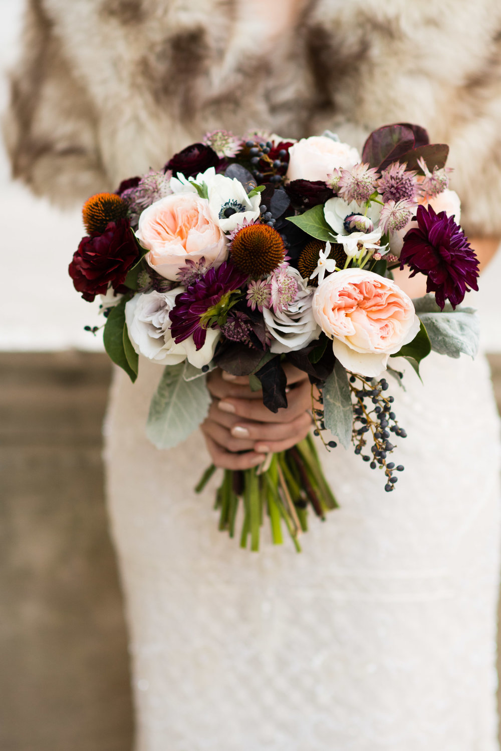 Winter bridal bouquet in Chicago