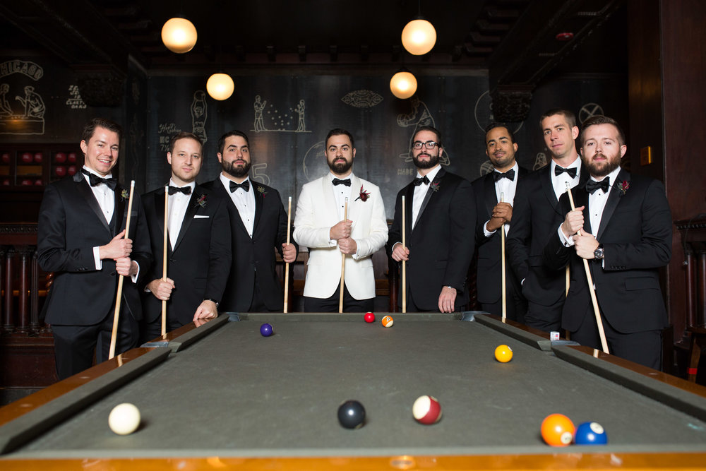 Editorial groomsmen portrait at Athletic Association Hotel