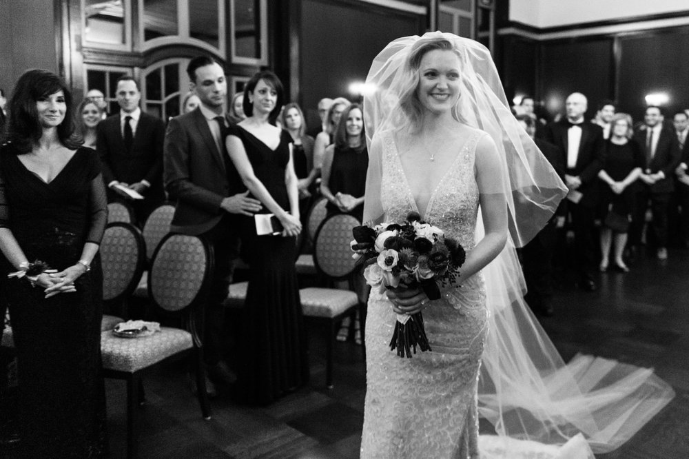 Bride walks down aisle at Chicago Athletic Association Hotel wedding