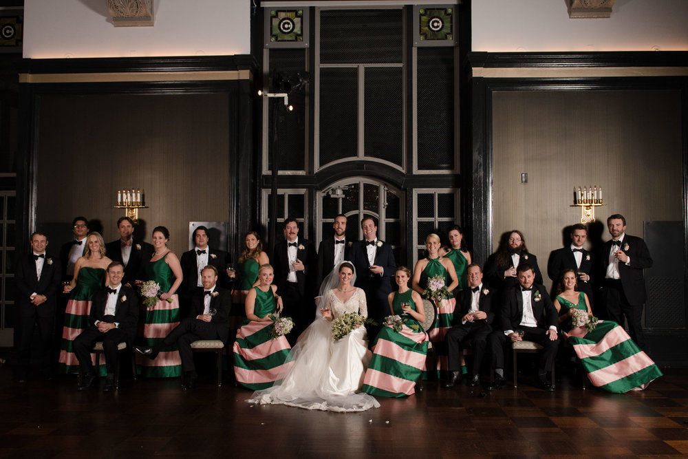 Editorial wedding party portrait at Chicago Athletic Association