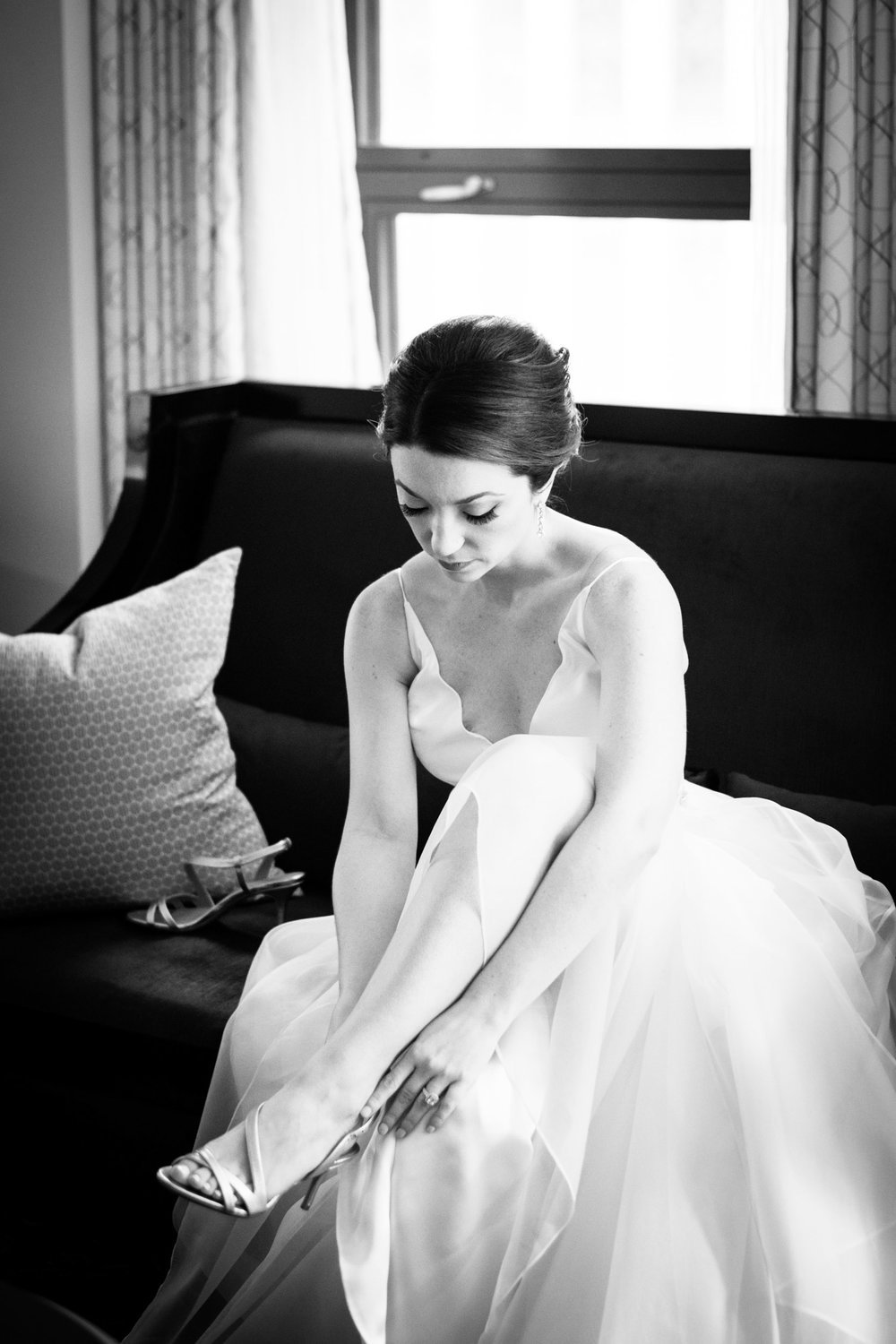 Bride dresses for wedding at Palmer House Chicago