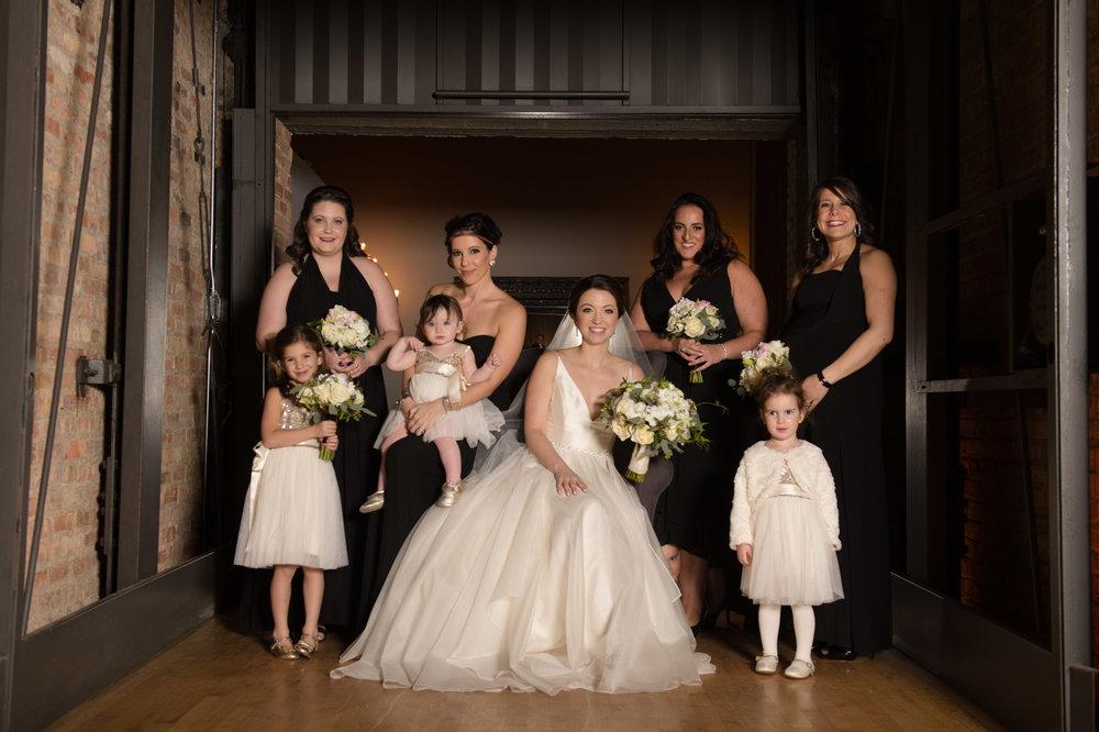 Bridal Party Portrait at Chicago Bridgeport Art Center