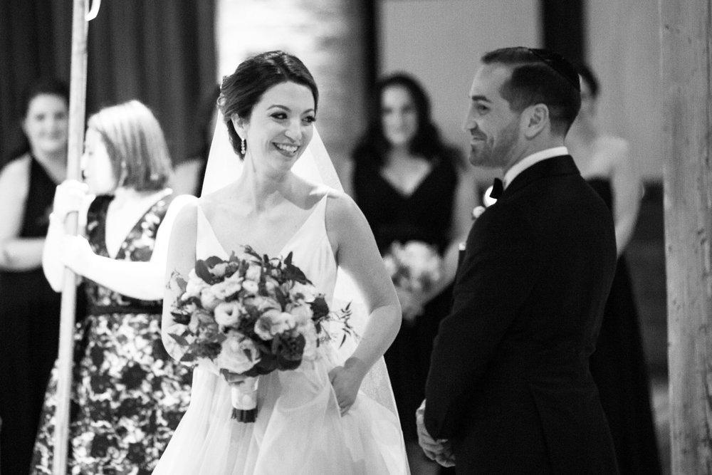Winter wedding ceremony at Bridgeport Art Center