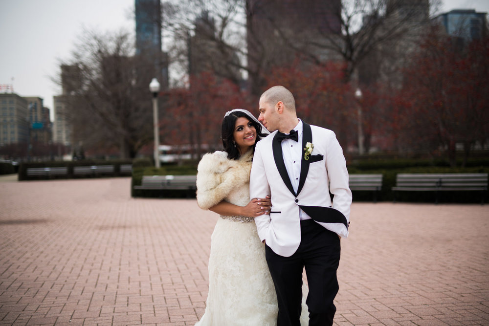 Wedding portraits in Millennium Park Chicago