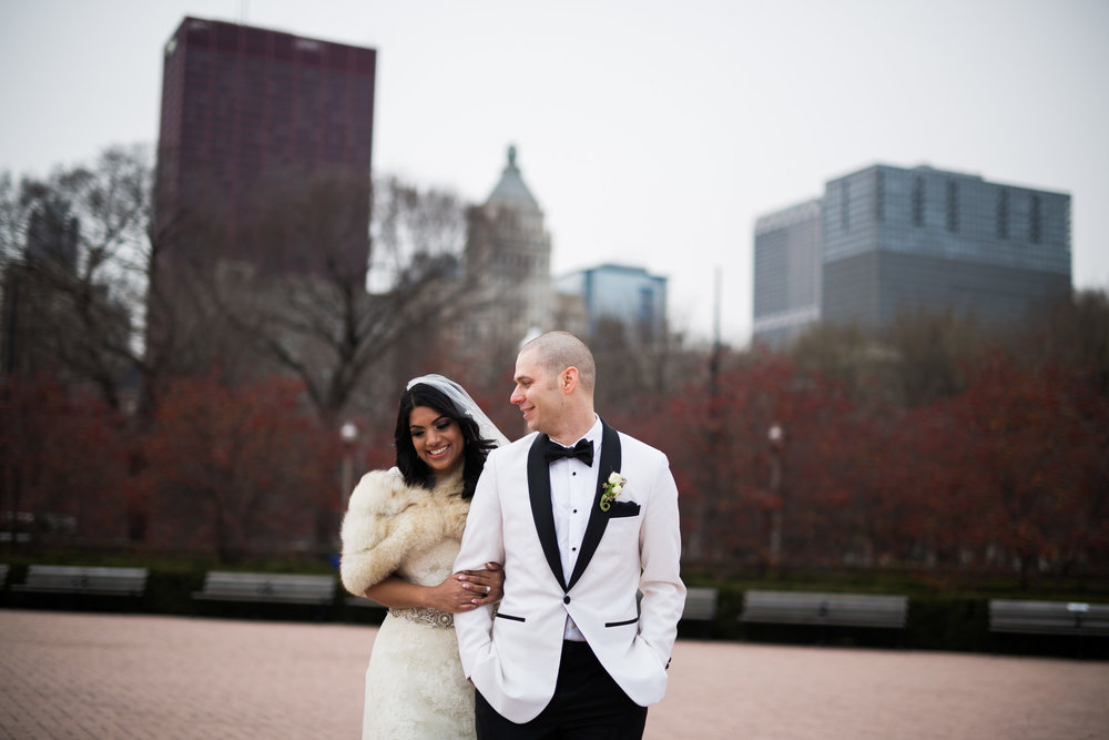 Winter bride and groom portraits in downtown Chicago
