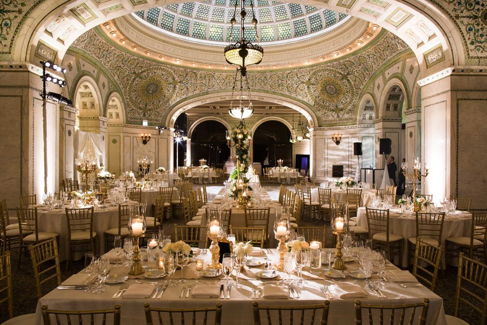 Wedding reception decor at Chicago Cultural Center | Studio This Is | Big City Bride | KLA Design