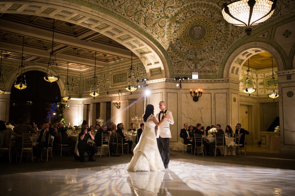 Bride and groom share their first dance at Chicago Cultural Center Wedding