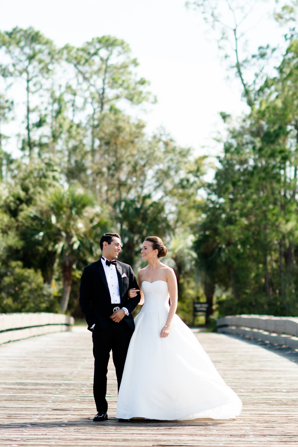 Wedding portraits of bride and groom in Kiawah, South Carolina