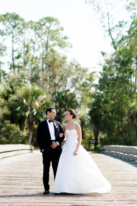 Wedding portraits of bride and groom in Kiawah, South Carolina
