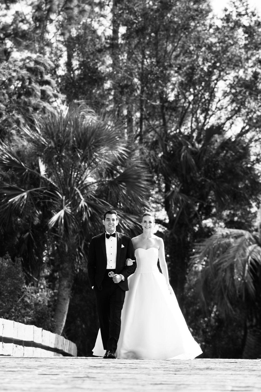 Black and white wedding photography in Kiawah, South Carolina