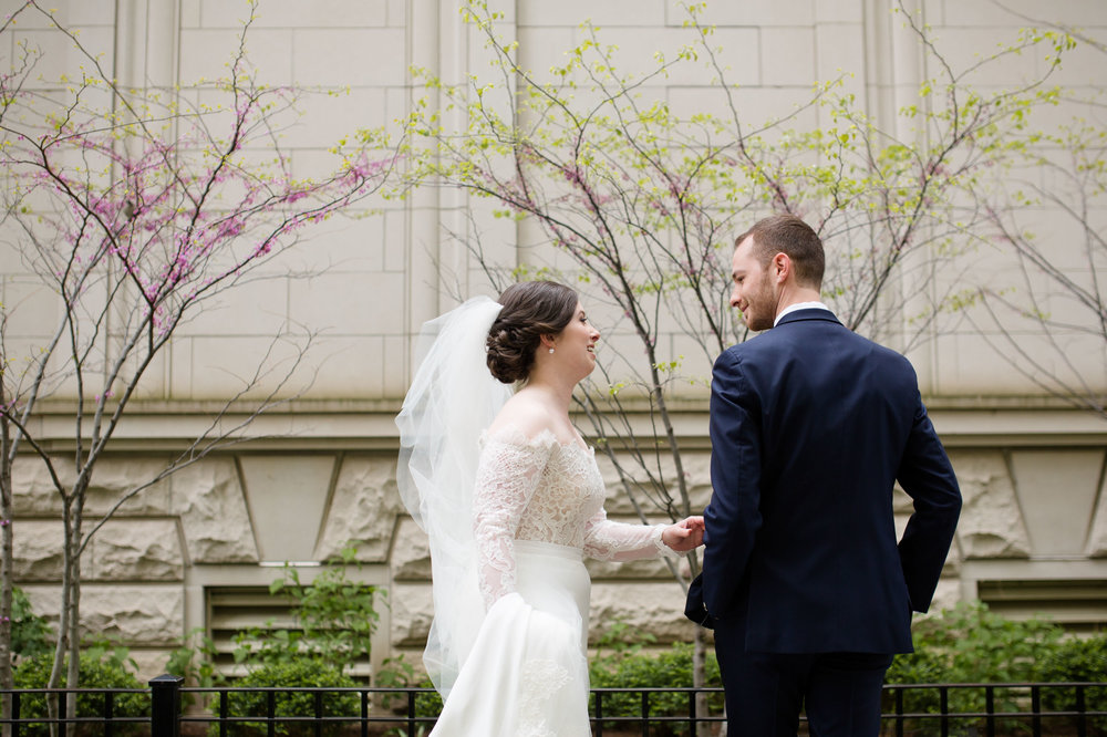 Bride and groom see each other first look at Public Hotel Chicago
