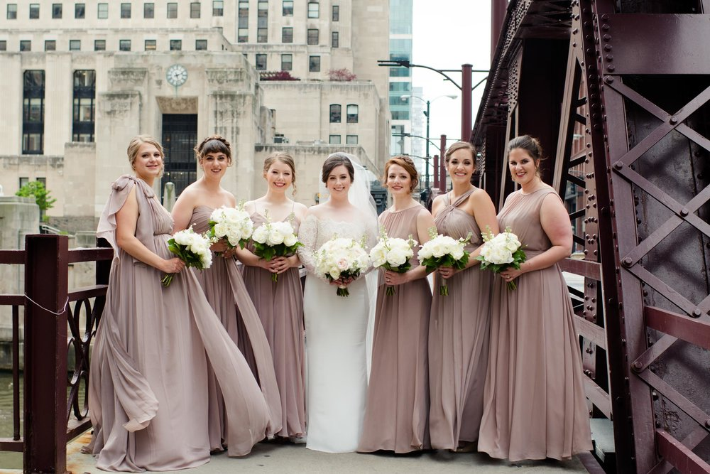 Mismatched rose champagne blush bridesmaids dresses Chicago