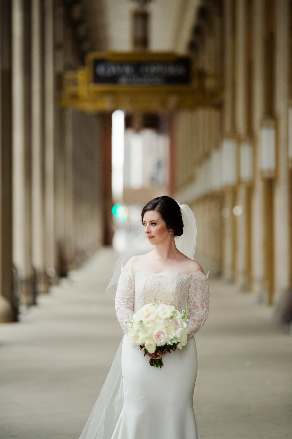 Elegant bridal portrait at Lyric Opera Chicago