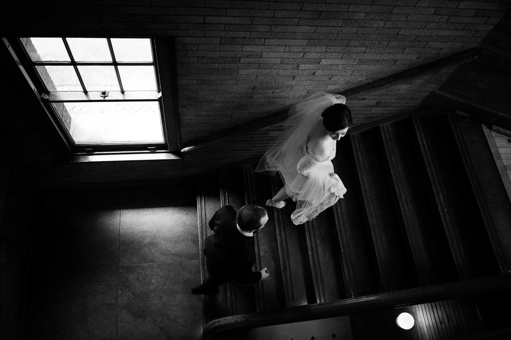 Overhead wedding photography Cafe Brauer Chicago | Black and White Portraits
