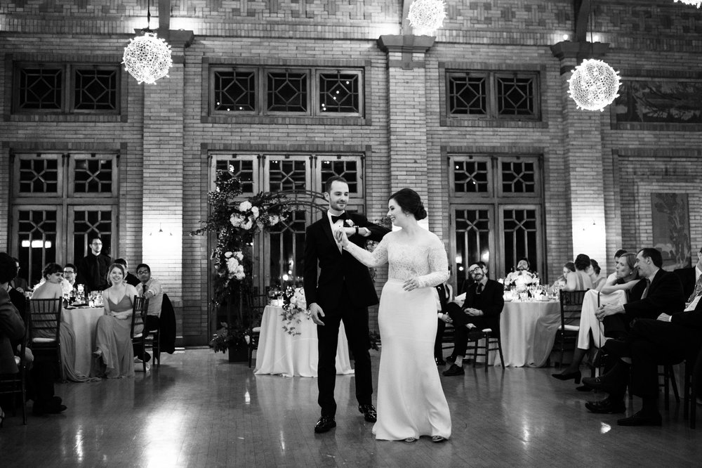 Bride and groom first dance at Cafe Brauer Chicago