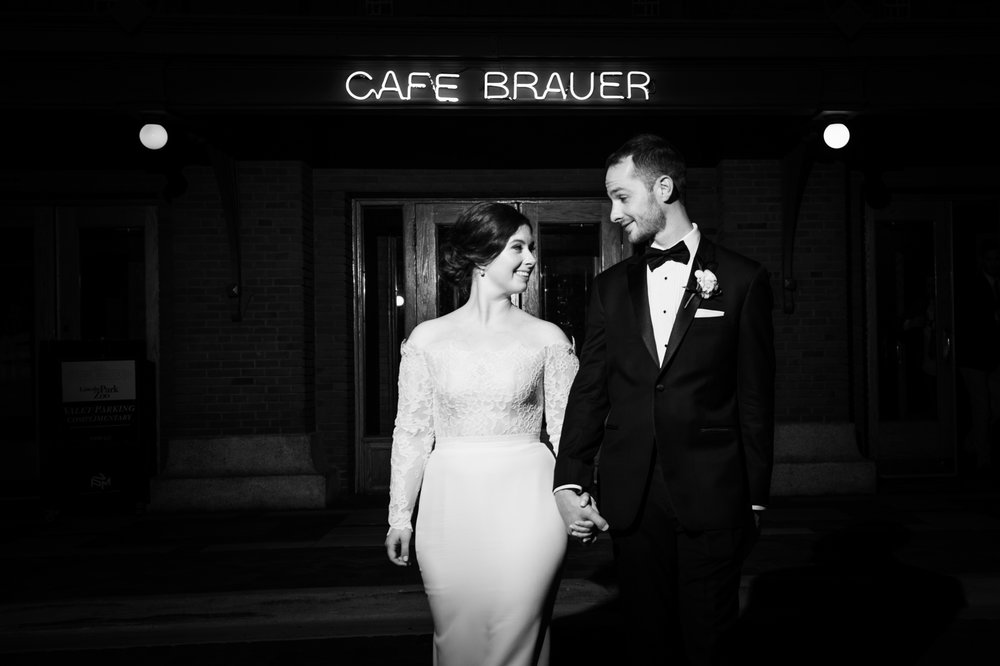 Night wedding portrait at Cafe Brauer Chicago