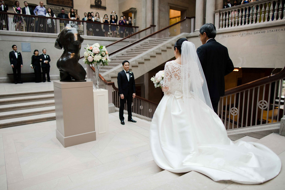 Wedding ceremony on Grand Staircase in Art Institute of Chicago