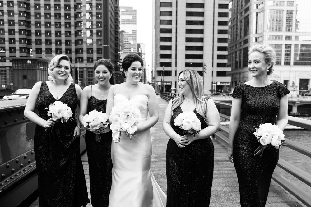 Bridesmaids in downtown Chicago