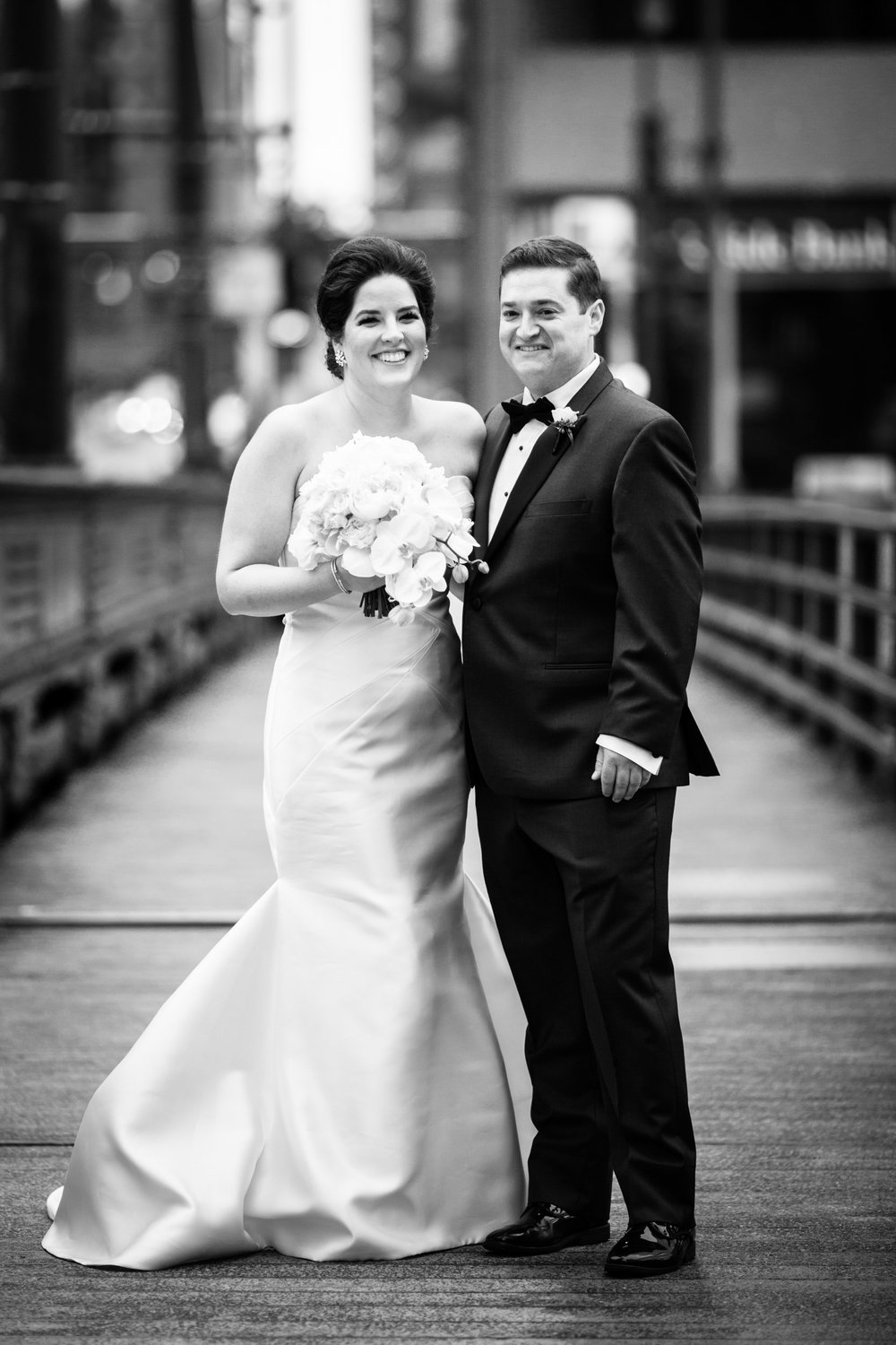 Black and white portrait of a bride and groom in Chicago