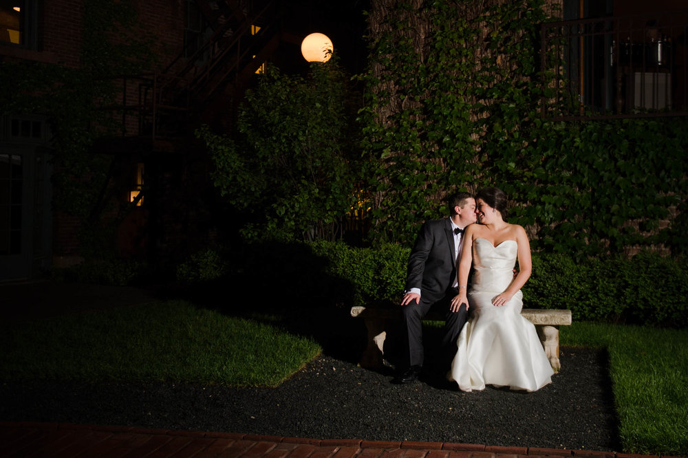 Night wedding portraits in Chicago at the Ivy Room