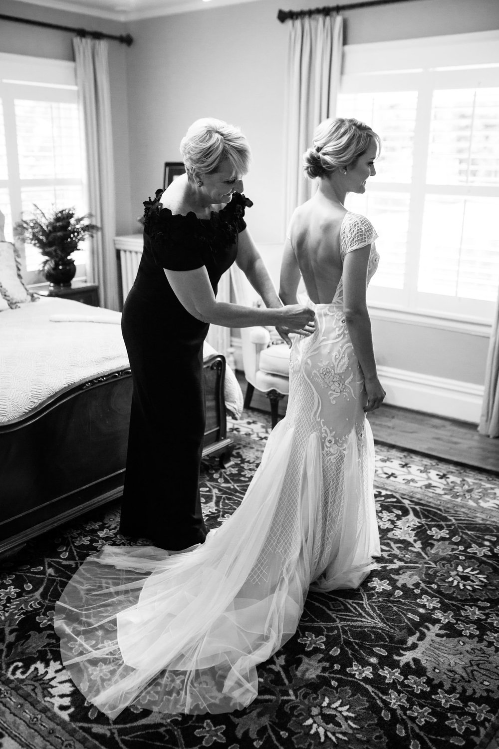 Amy's mother helped her to dress for her wedding at the Bridgeport Art Center in Chicago, Illinois.