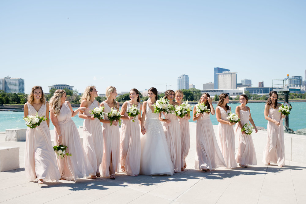 Blush bridesmaids gowns at Lake Michigan in Chicago.