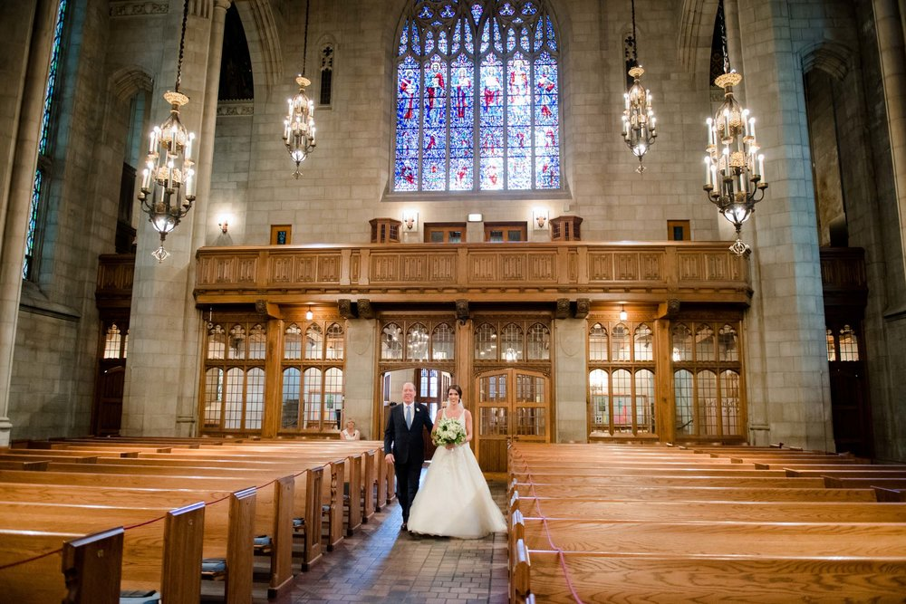 We photographed the wedding ceremony at Chicago's iconic 4th Presbyterian church on Michigan Avenue.